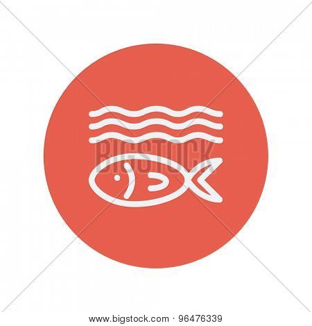 Fish under water thin line icon for web and mobile minimalistic flat design. Vector white icon inside the red circle.