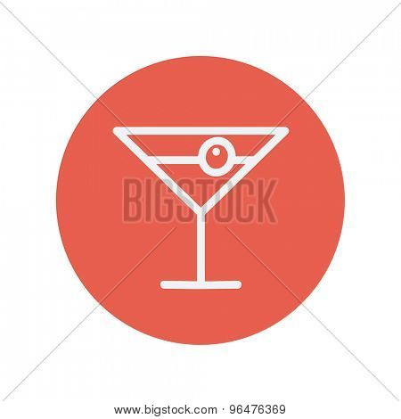 Cocktail drink with cherry thin line icon for web and mobile minimalistic flat design. Vector white icon inside the red circle