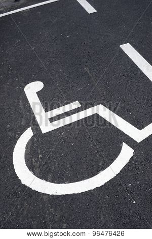 Parking place reserved for disabled people.