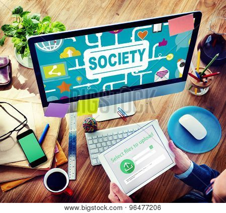 Society Community Global Togetherness Connecting Internet Concept