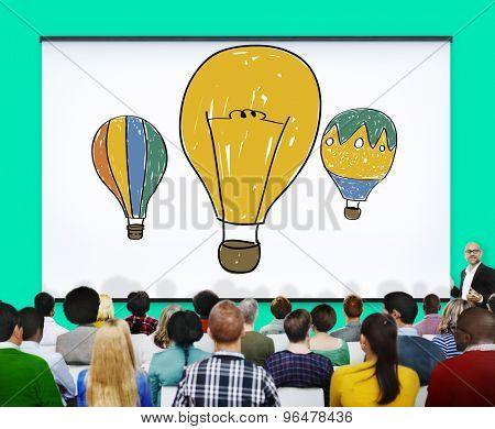 Hot Air Balloon Bulb Ideas Imagination Flight Concept