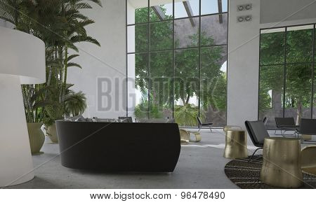 Modern minimalist living room interior with huge double volume floor-to-ceiling windows an open plan living and dining areas with potted tropical palm trees and plants. 3d Rendering.