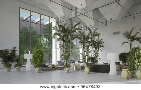 Large modern designer double volume living room atrium interior with potted tropical palms and plants interspersed with seating areas below huge view windows. 3d Rendering.