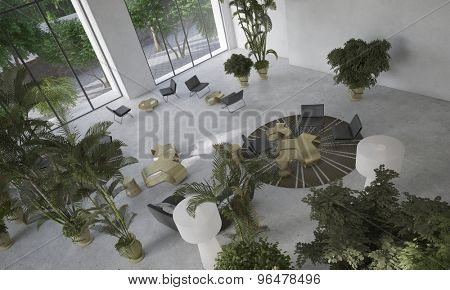 High angle view of a double volume modern minimalist designer living-dining room with indoor potted plants and contemporary furniture. 3d Rendering.