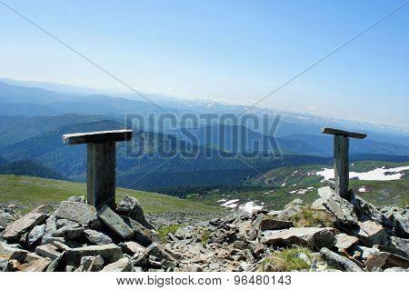 Forest landscape of the Sayan Mountains. Siberia. Khakassia.