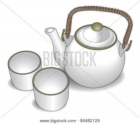 Teapot and tea cups