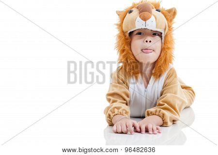 Cute Little Boy Dressed In Lion Suit. Isolated On White