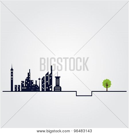 Small Tree And The Building Witch City Landscape Background. Green Concept. Flat Design Modern