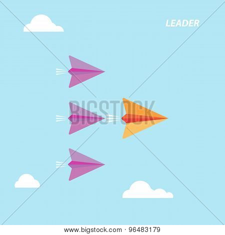 Creative Paper Rocket Sign And White Cloud On Blue Sky. Business And Leadership Concept, Teamwork Si