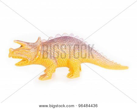 Plastic Dinosaur Toy On White Background