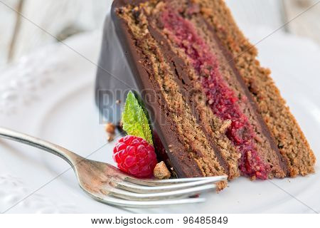 Plate With Chocolate Cake.