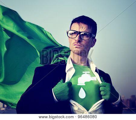 Water Saving Strong Superhero Success Professional Empowerment Stock Concept