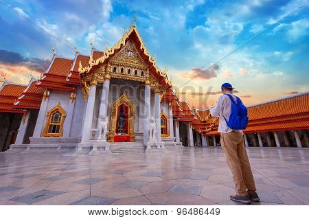 The Marble Temple Wat Benchamabopit Dusitvanaram in Bangkok Thailand