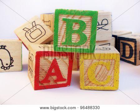 ABC on wooden blocks