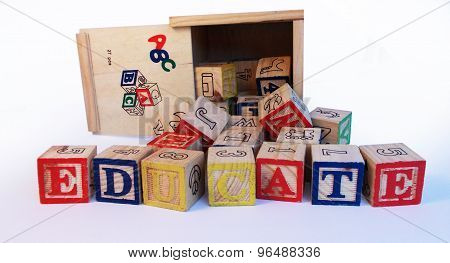 The word education on wooden blocks
