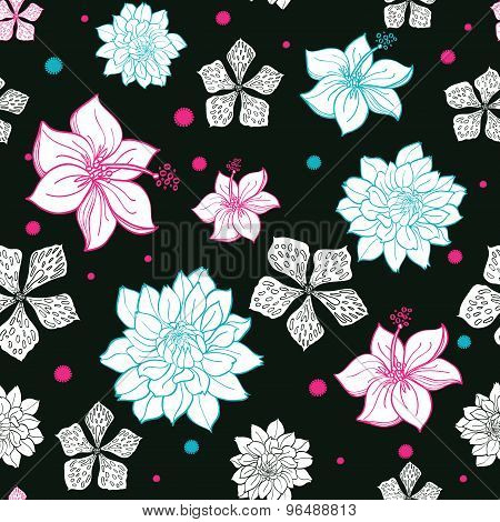 Vector Black Pink Blue Floral Drawing Seamless Pattern