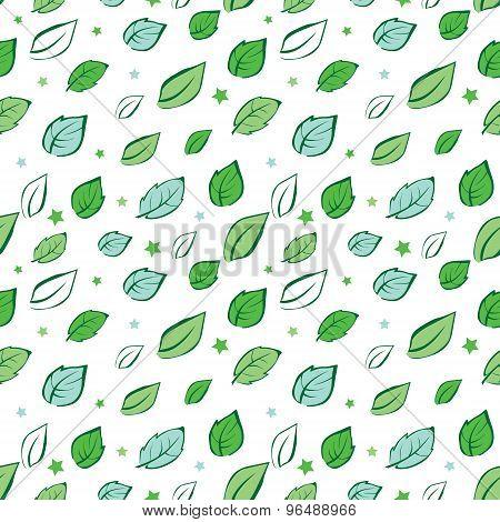 Vector Green Leaves Diagonal Seamless Pattern