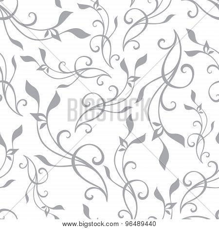 Vector Swirly Branches Gray Vintage Seamless Pattern