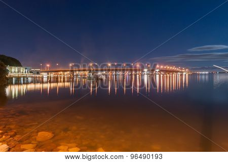 Tauranga Night Scene, Bridge Under New Moon