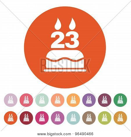 The birthday cake with candles in the form of number 23 icon. Birthday symbol. Flat