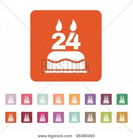 The birthday cake with candles in the form of number 24 icon. Birthday symbol. Flat