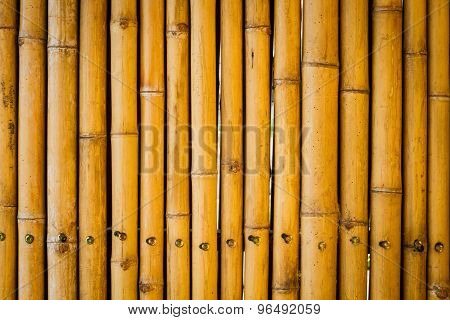 Closeup Yellow Bamboo Fence Background