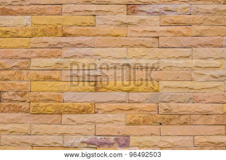 Wall Made From Yellow Sandstone Bricks, Abstract Background