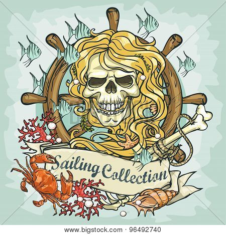 Mermaid skull logo design - Sailing Collection