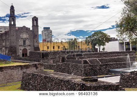 Plaza Of Three Cultures Aztec Archaeological Site Mexico City Mexico