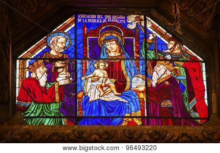 Mary Baby Jesus Stained Glass Old Basilica Guadalupe Mexico City Mexico
