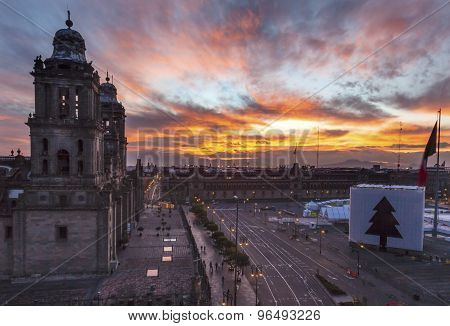 Metropolitan Cathedral Zocalo Mexico City Mexico Sunrise