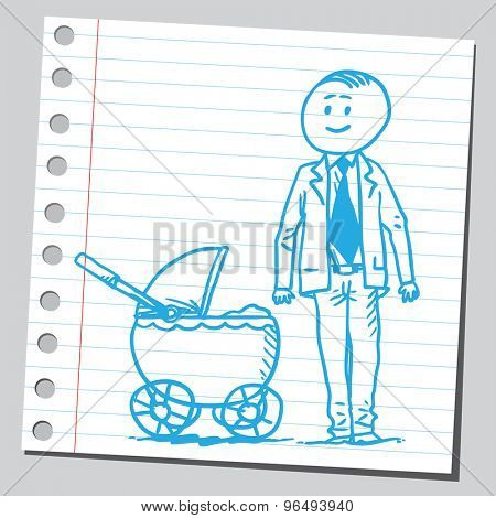 Businessman with baby carriage