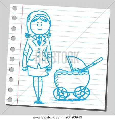 Businesswoman with baby carriage