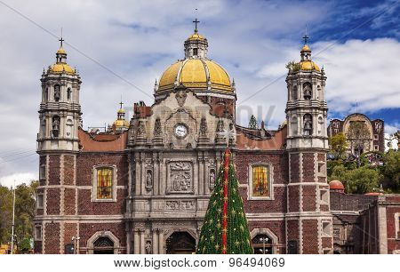 Old Basilica Shrine Of Guadalupe Christmas Day Tree Mexico City Mexico