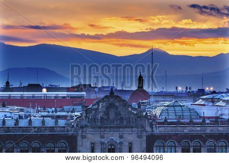 President's Palace Sunrise Zocalo Mexico City
