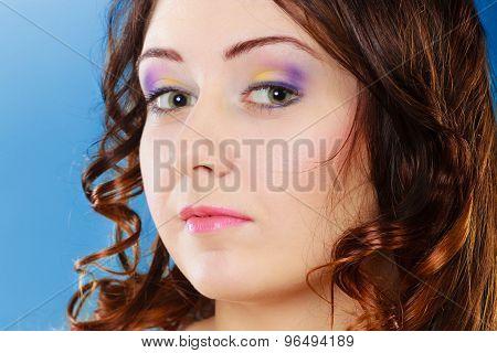 Closeup Woman Face Long Curly Hair Portrait