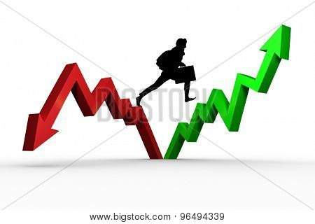 Businessman silhouette against red and green jagged arrows
