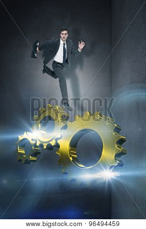 Stern businessman in a hurry against black wall