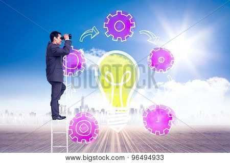 Businessman standing on ladder against cityscape on the horizon