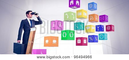 Businessman looking on a ladder against room overlooking city