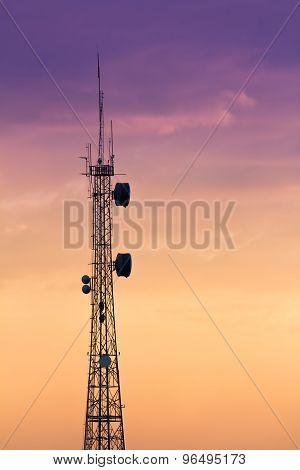 Silhouettes Telecommunication Tower