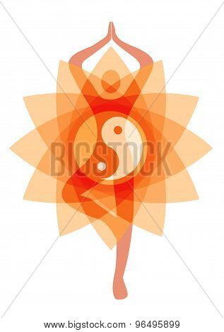Yoga Position On Lotus Flower