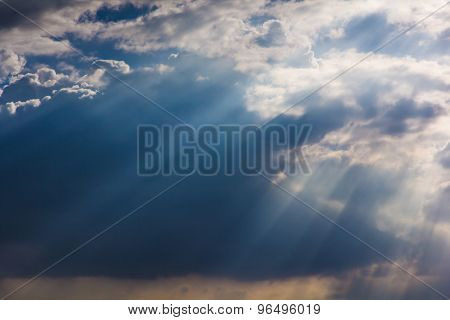 Sunray Through Haze On Sky