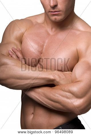handsome young bodybuilder showing of his fit body and muscles