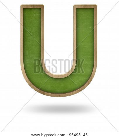 Green blank letter U shape blackboard