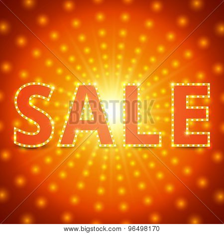 Sale Background With Retro Shining Effect