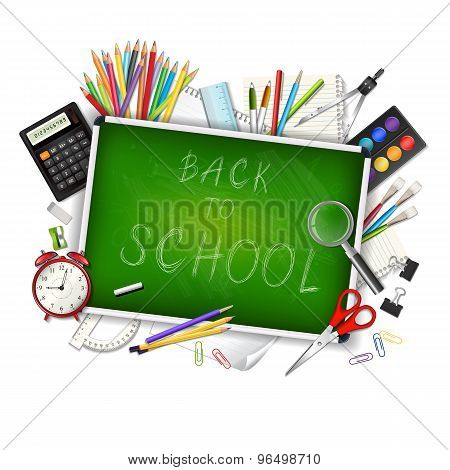 Back To School Background With Supplies Tools And Chalkboar