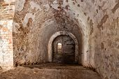 stock photo of dungeon  - Old stone staircase leads to dungeon - JPG