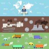 picture of smog  - Ecology and Environment Environmental Conference pollution smoke and smog plants vector banners - JPG