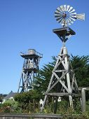 picture of mendocino  - Windmill and Watertower in Mendocino - JPG